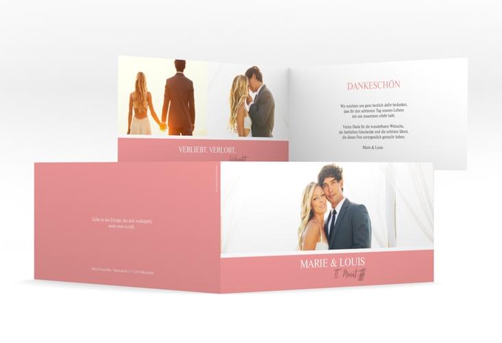 """Danksagungskarte Hochzeit  """"Balance"""" DIN lang Klappkarte rosa"""