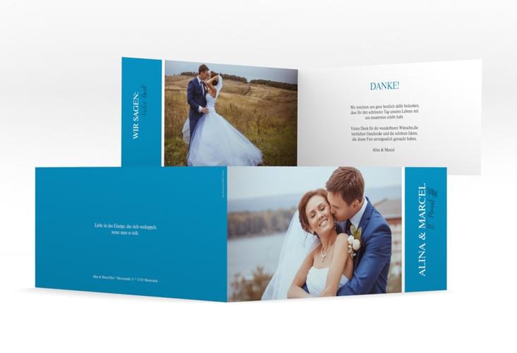 "Danksagungskarte Hochzeit ""Classic"" DIN lang Klappkarte blau"