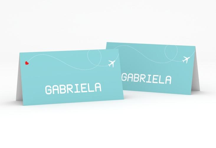 """Tischkarte Hochzeit """"Weddingpass"""" Tischkarten blau"""