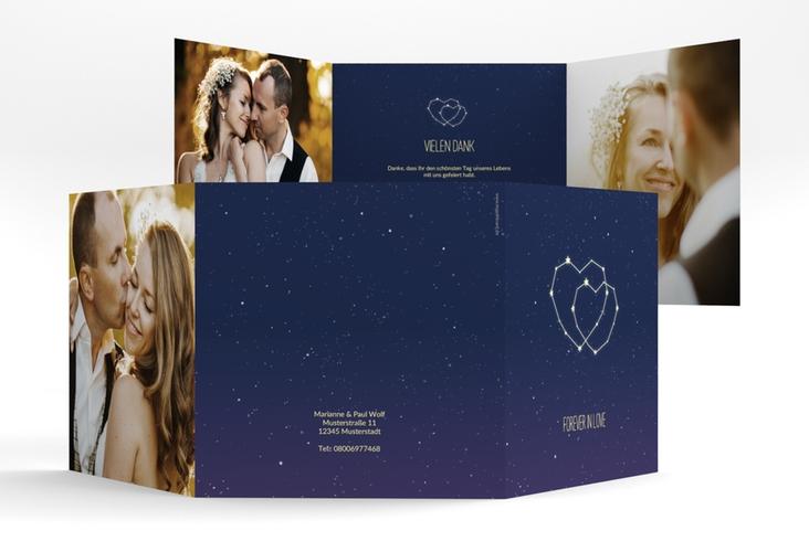 "Dankeskarte Hochzeit ""Sternenbild"" Quadr. Karte doppelt"