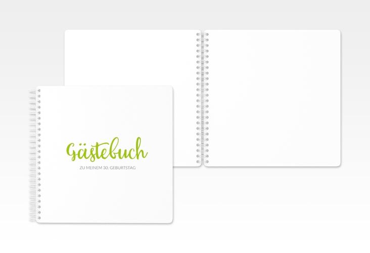 """Gästebuch Geburtstag """"Handwriting"""" Ringbindung gruen"""