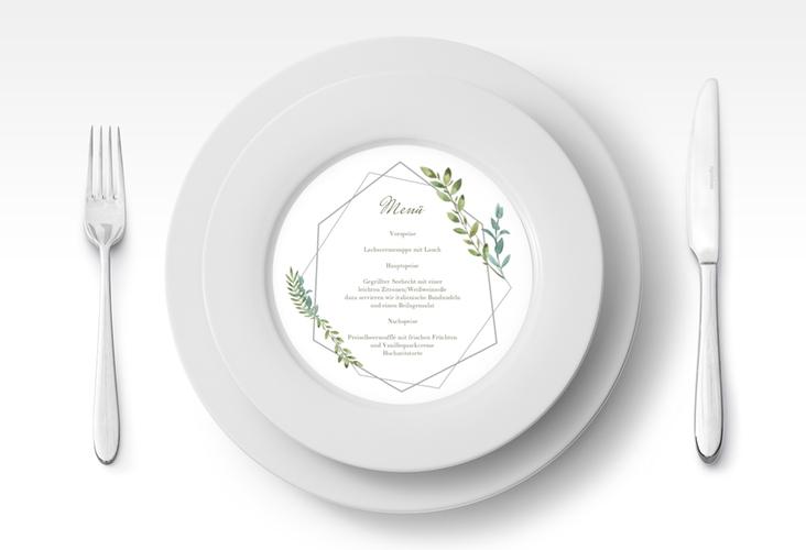 """Menükarte Hochzeit """"Herbarium"""" rund grau"""