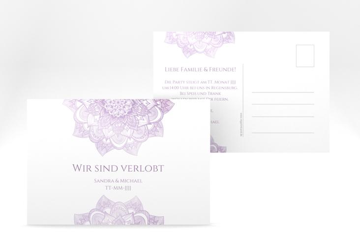 """Verlobungskarte Hochzeit """"Delight"""" A6 Postkarte flieder"""