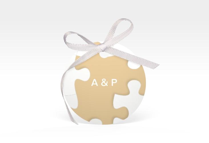 """Geschenkanhänger Hochzeit """"Puzzle"""" Geschenkanhänger, rund beige"""
