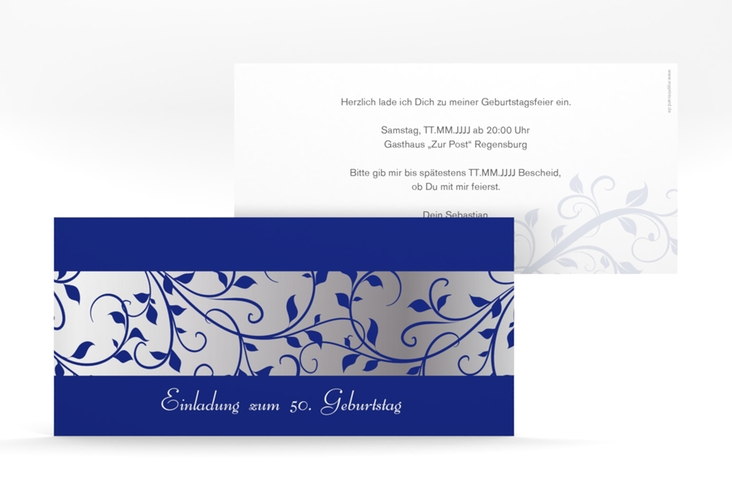 "Einladungskarte ""Hermann/Hermine"" DIN lang blau"