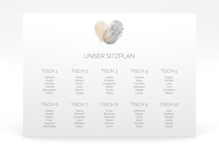 """Sitzplan Poster Hochzeit """"Fingerprint"""" 70 x 50 cm Poster beige"""