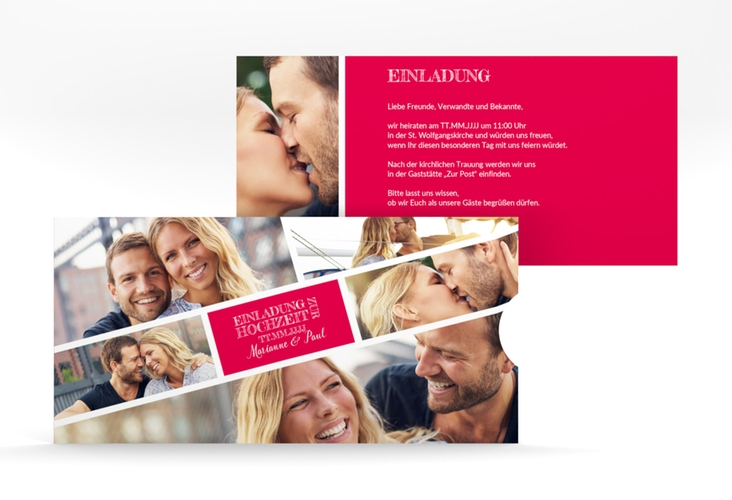 """Hochzeitseinladung """"Rise"""" Einsteckkarte pink"""
