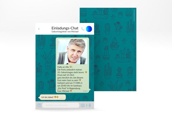 "Einladungskarte ""Connect"" A6 hoch blau"