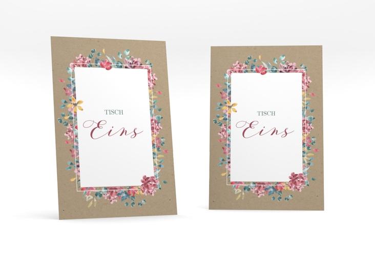 """Tischnummer Hochzeit """"Blumenliebe"""" Tischaufsteller braun"""