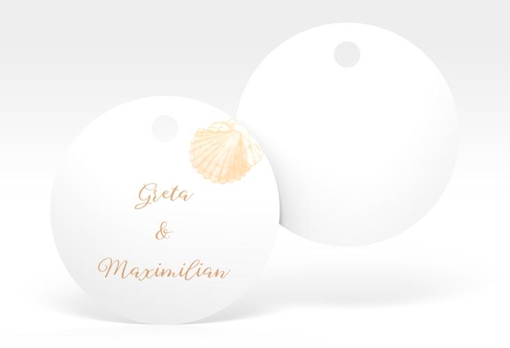"""Geschenkanhänger Hochzeit """"Muschelreich"""" Geschenkanhänger, rund beige"""