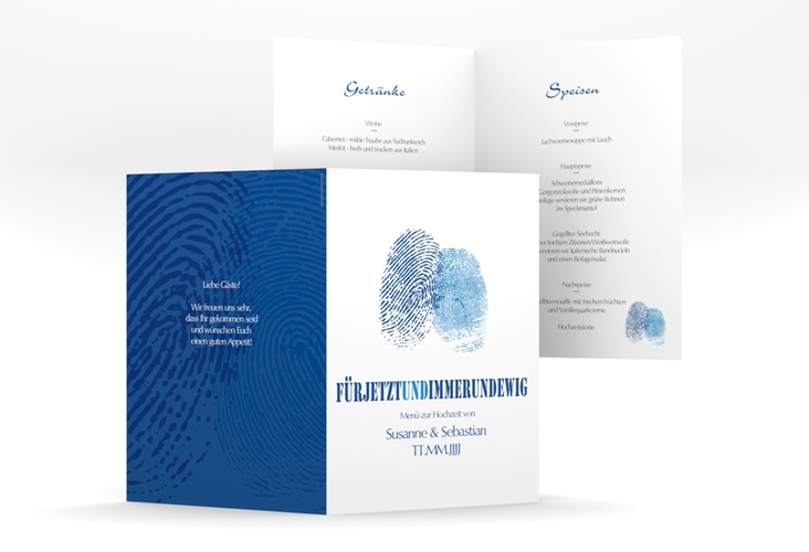 """Menükarte Hochzeit """"Messina"""" DIN A5 geklappt blau"""