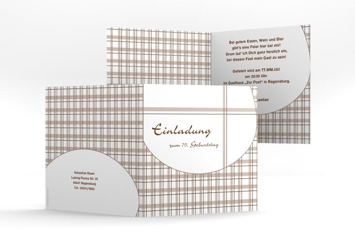 "Einladungskarte ""Herbert"" Quadratische Klappkarte braun"