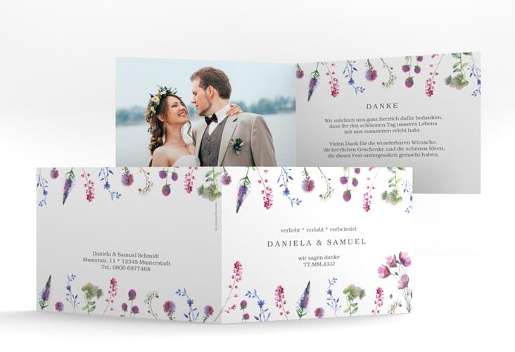 """Dankeskarte Hochzeit """"Wildblumen"""" A6 Klappkarte Quer weiss"""