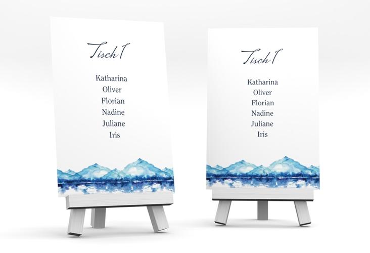 """Tischaufsteller Hochzeit """"Bergliebe"""" Tischaufsteller blau"""