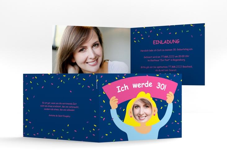 "Einladungskarte ""Comic Woman"" A6 Klappkarte Quer blau"