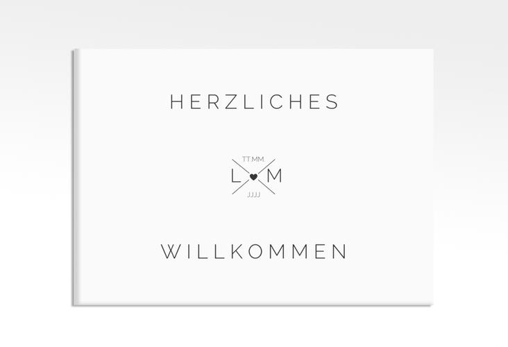 """Willkommensschild Hochzeit """"Initials"""" 70 x 50 cm Leinwand schwarz"""