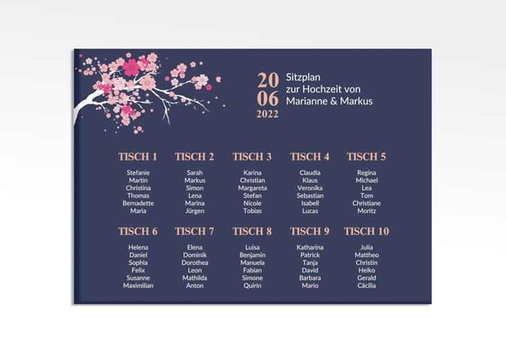 "Sitzplan Leinwand Hochzeit ""Sakura"" 70 x 50 cm Leinwand blau"
