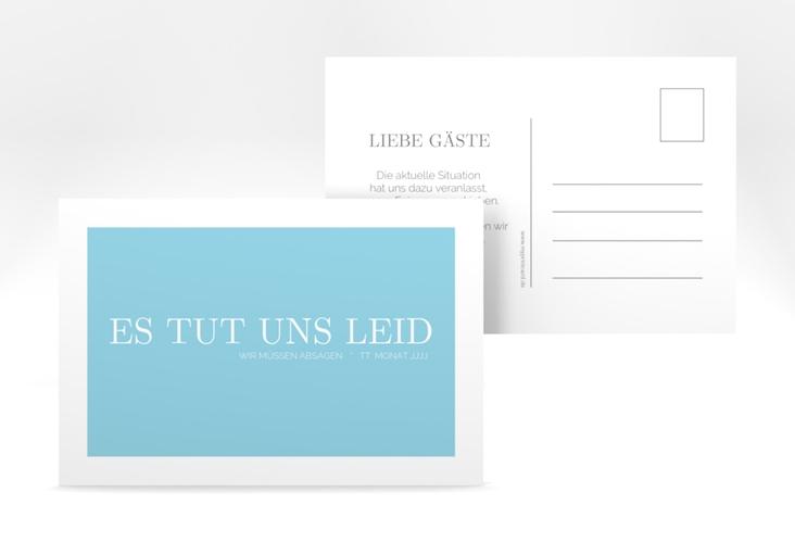 "Absagekarte ""Simpel"" A6 Postkarte tuerkis"
