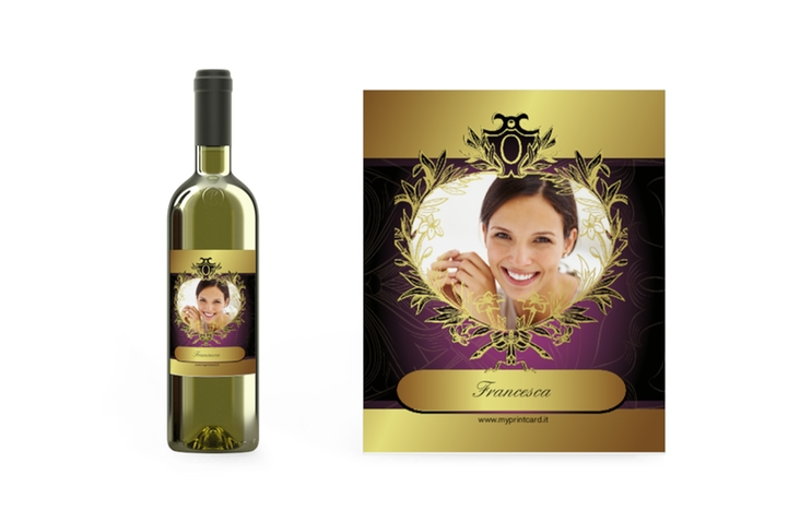 Etichetta vino oro Etikett Weinflasche 4er Set