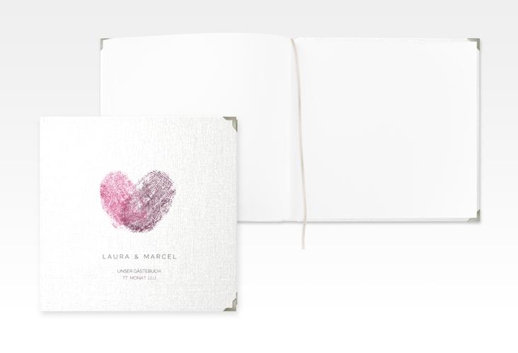 """Gästebuch Selection Hochzeit """"Fingerprint"""" Leinen-Hardcover pink"""