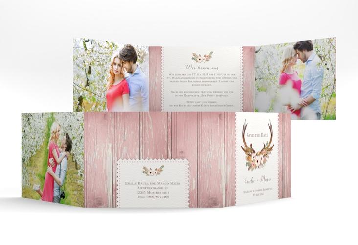"""Hochzeitseinladung """"Heimatjuwel"""" A6 doppelt geklappt rosa"""