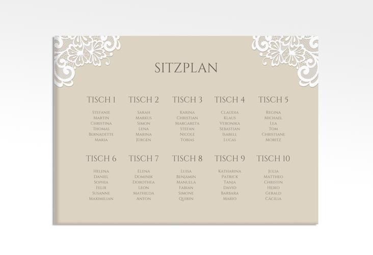 """Sitzplan Leinwand Hochzeit """"Vintage"""" 70 x 50 cm Leinwand beige"""