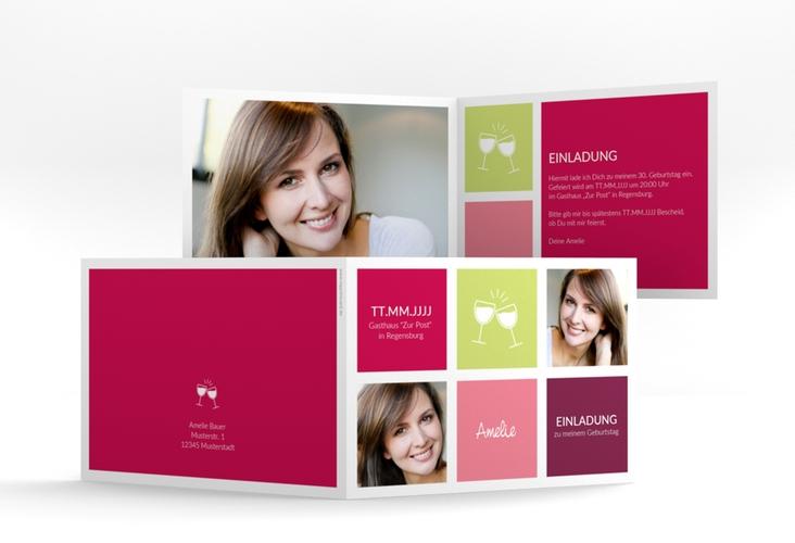 """Einladungskarte """"Celebration"""" A6 Klappkarte Quer pink"""