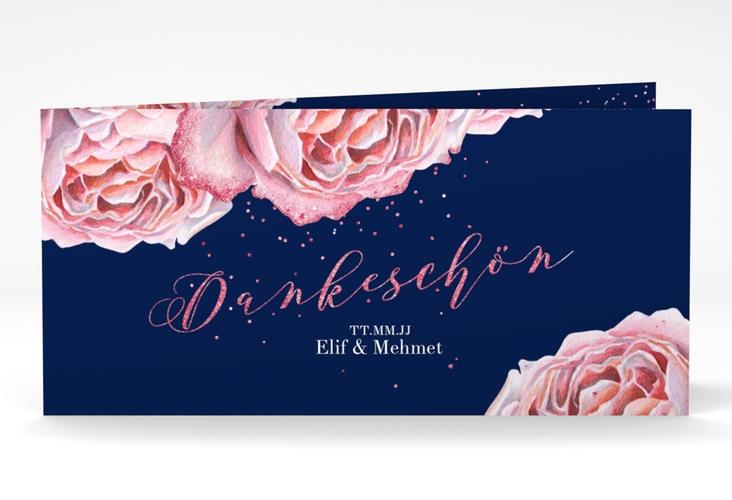 "Danksagung Hochzeit ""Cherie"" DIN lang Klappkarte rosa"