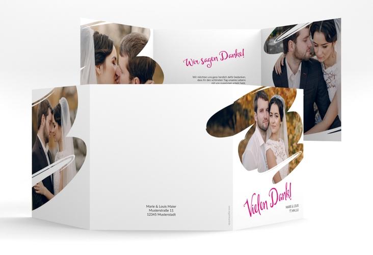 """Dankeskarte Hochzeit """"Felice"""" Quadr. Karte doppelt pink"""