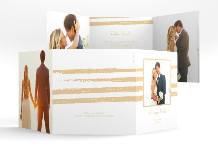 "Dankeskarte Hochzeit ""Mare"" Quadr. Karte doppelt beige"