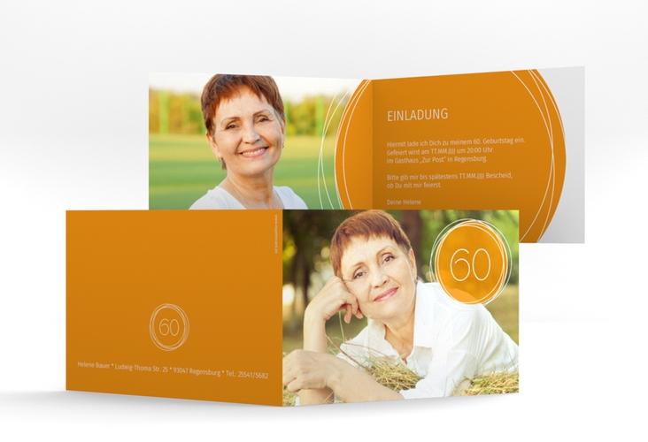 """Einladungskarte """"Twister"""" A6 Klappkarte Quer orange"""