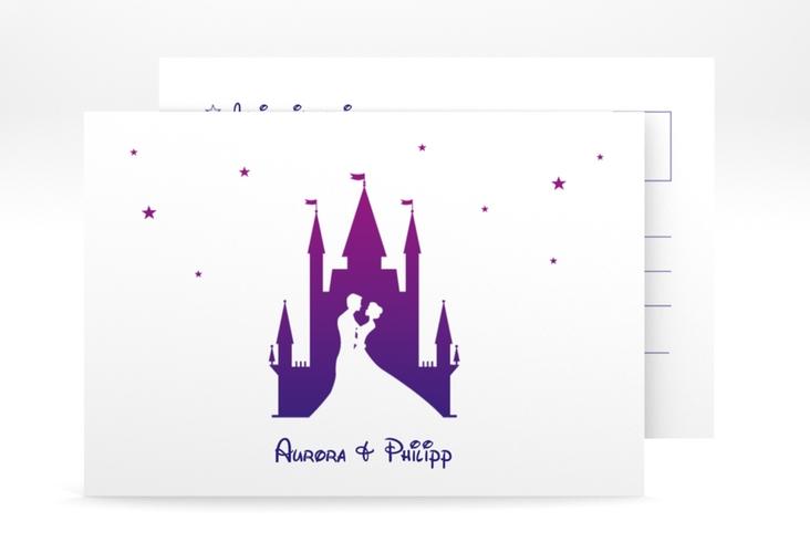 """Antwortkarte Hochzeit """"Castle"""" A6 Postkarte lila"""