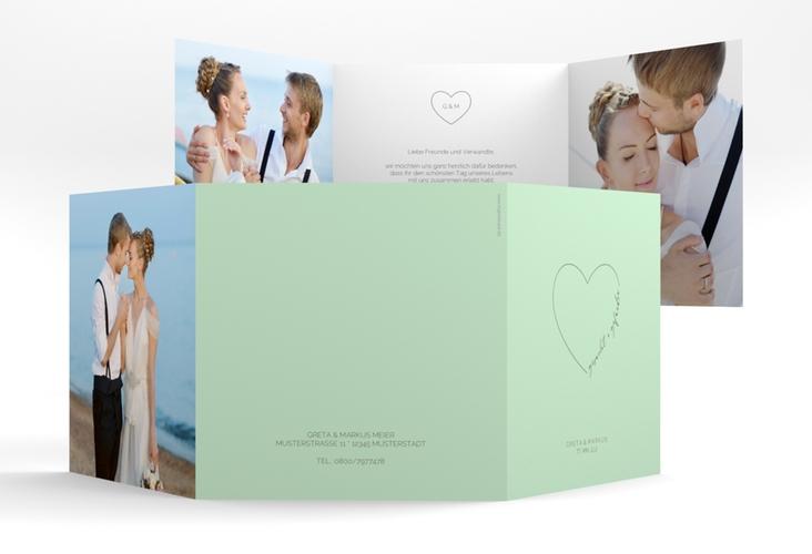 "Danksagungskarte Hochzeit ""Lebenstraum"" Quadr. Karte doppelt mint"