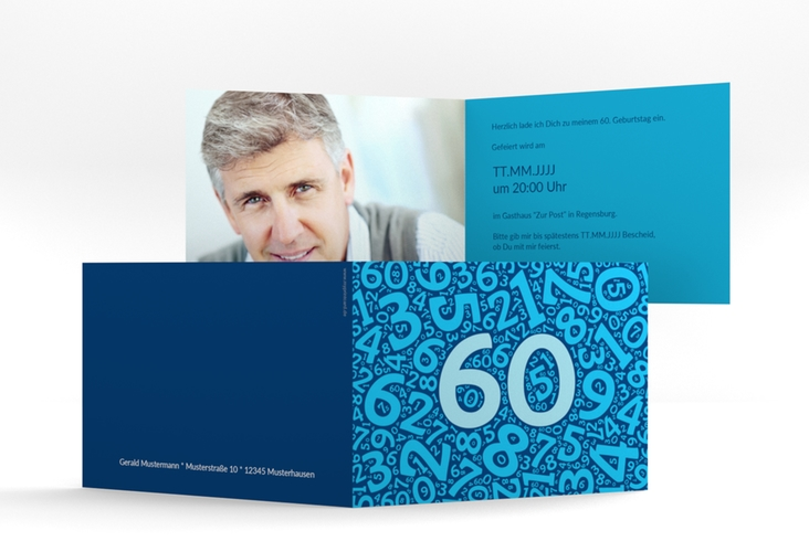 """Einladungskarte """"Chiffre"""" A6 Klappkarte Quer blau"""