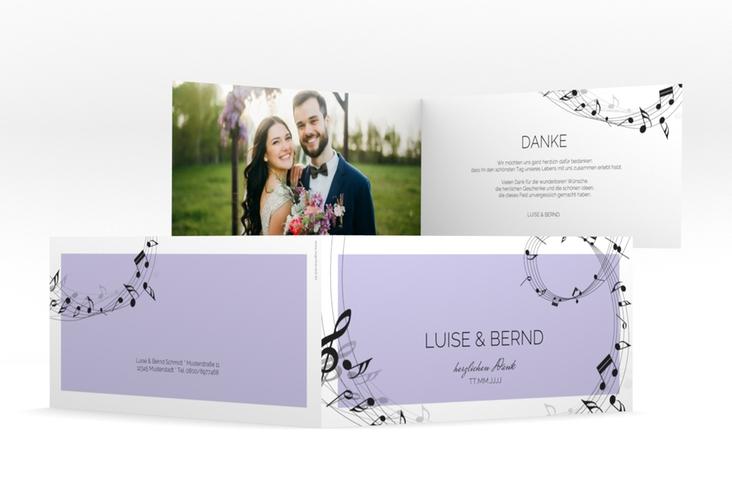 """Dankeskarte Hochzeit """"Melody"""" DIN lang Klappkarte flieder"""