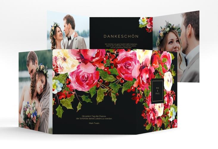 """Dankeskarte Hochzeit """"Blumenpracht"""" Quadr. Karte doppelt"""