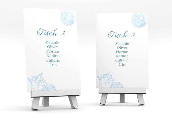 """Tischaufsteller Hochzeit """"Muschelreich"""" Tischaufsteller blau"""