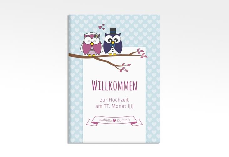 """Willkommensschild Hochzeit """"Eulenliebe"""" 50 x 70 cm Leinwand blau"""