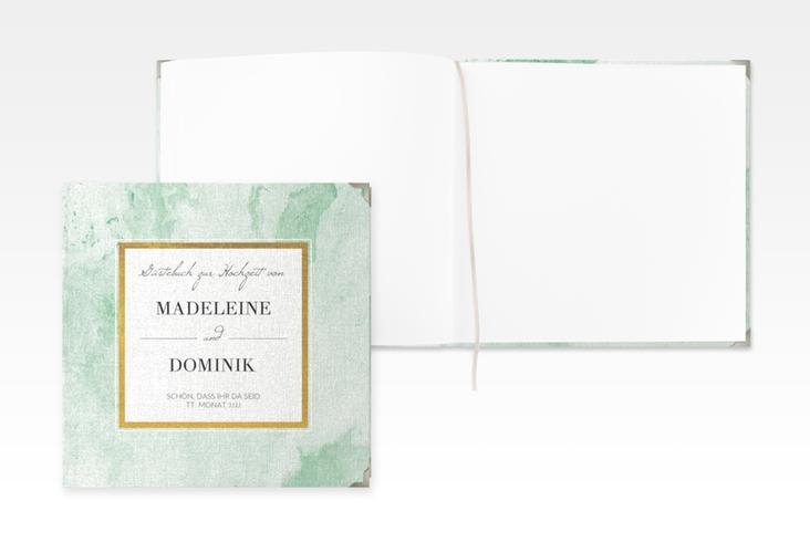 """Gästebuch Selection Hochzeit """"Marble"""" Leinen-Hardcover gruen"""