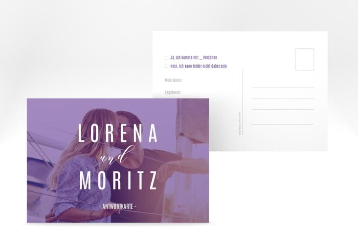 """Antwortkarte Hochzeit """"Memory"""" A6 Postkarte lila"""