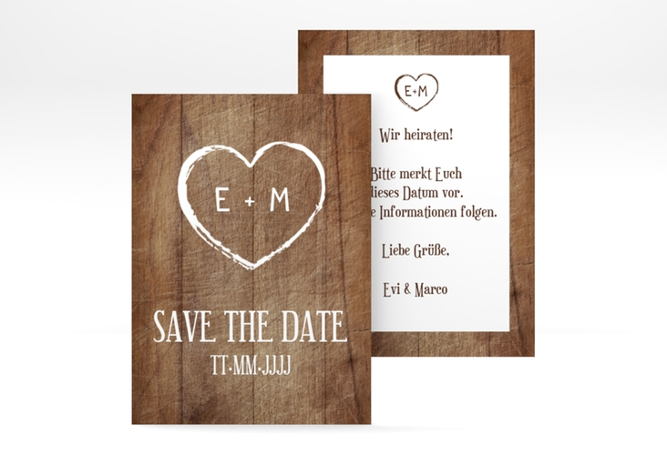 "Save the Date-Visitenkarte ""Wood"" Visitenkarte"