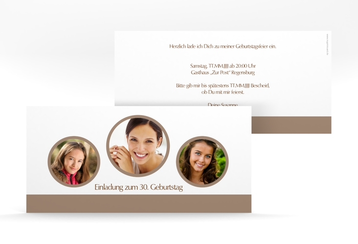 "Einladungskarte ""Anton/Antonia"" DIN lang braun"