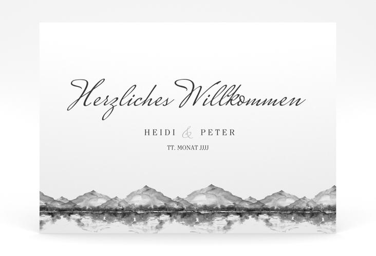 "Willkommensschild Poster ""Bergliebe"" 70 x 50 cm Poster grau"