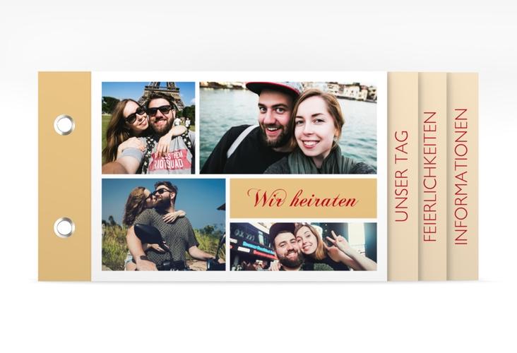 """Hochzeitseinladung """"Collage"""" Booklet apricot"""