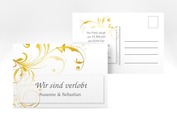"Verlobungskarte Hochzeit ""Palma"" A6 Postkarte gold"