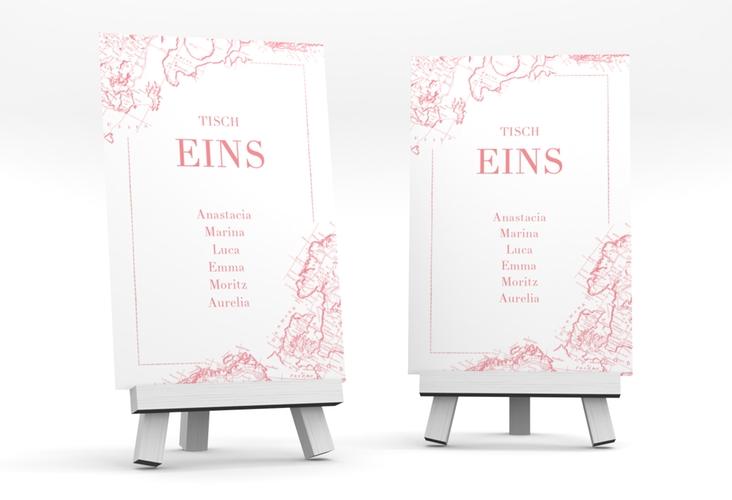 """Tischaufsteller Hochzeit """"Voyage"""" Tischaufsteller rosa"""