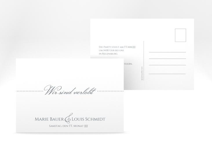 """Verlobungskarte Hochzeit """"Pure"""" A6 Postkarte grau"""