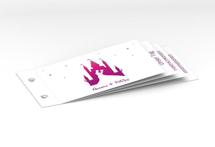 """Hochzeitseinladung """"Castle"""" Booklet pink"""