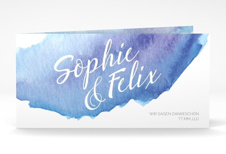 "Dankeskarte Hochzeit ""Aquarella"" DIN lang Klappkarte blau"