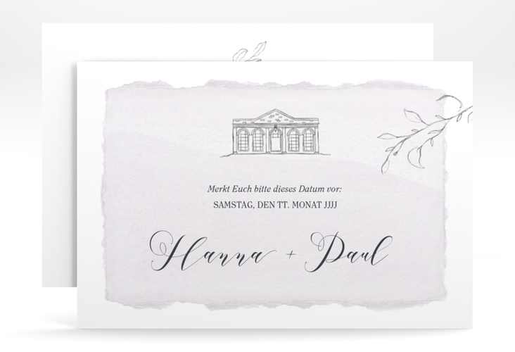 "Save the Date-Karte ""Villa"" A6 quer flieder"